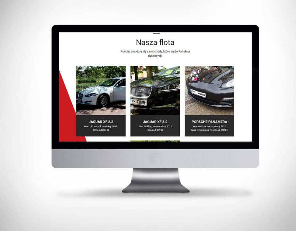 Strona www dla firmy wynajmującej samochody